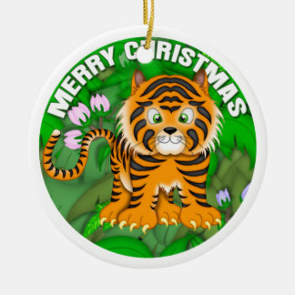 Merry Christmas Tiger Christmas Ornament