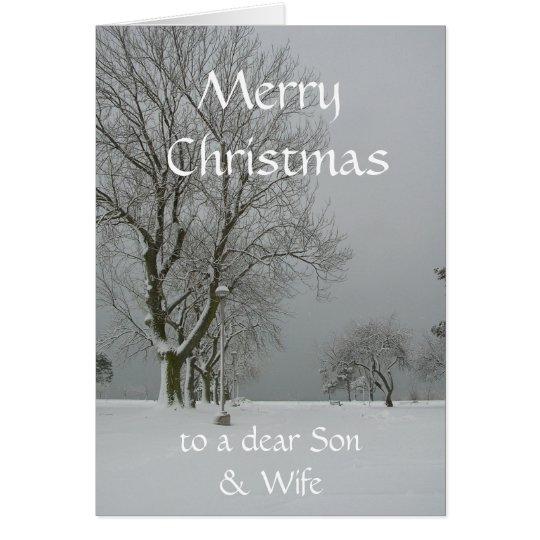 Merry Christmas to a dear Son & Wife-Winter Scene Card