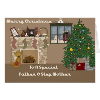 Merry Christmas To A Special Father & Step Mother Greeting Card