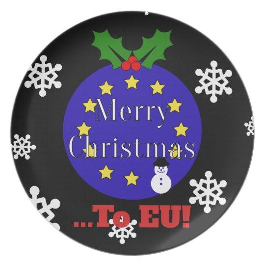 """Merry Christmas..To EU!"" Brexit Christmas Plate"