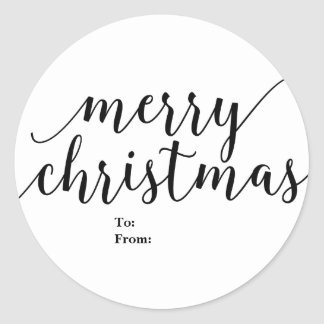Merry Christmas To From Black Script Type Elegant Classic Round Sticker