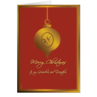 merry christmas to my grandparents red gold greeting card