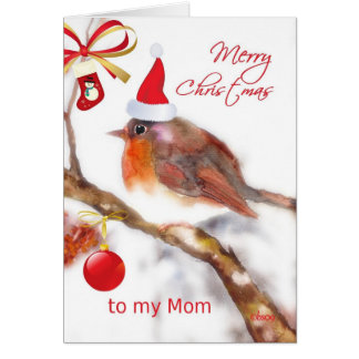merry christmas to my mom robin snowflakes greeting card