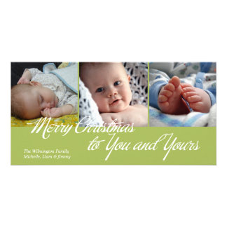 Merry Christmas to you and yours green 3 photos Photo Cards