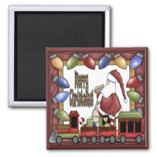 Merry Christmas Train Square Magnet