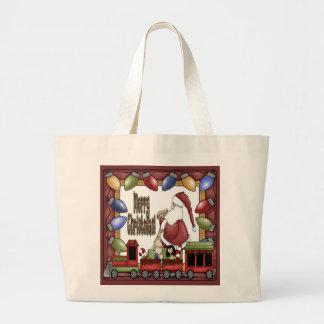 Merry Christmas Train Canvas Bags