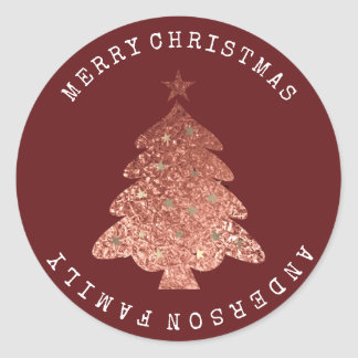 Merry Christmas Trea Pink Rose Gold Burgund Maroon Classic Round Sticker