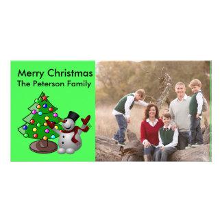 Merry Christmas Tree & 3D Snowman Photocard Photo Greeting Card