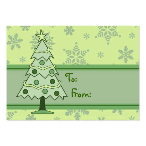 Merry Christmas Tree and Snowflakes Gift Tags Business Card Templates