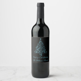 Merry Christmas Tree Black Metallic Blue Look Wine Label