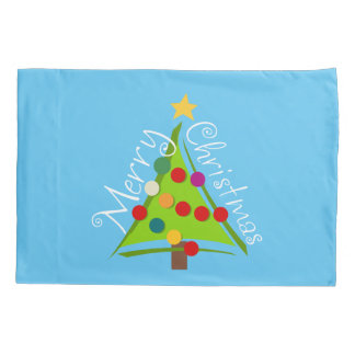 Merry Christmas Tree (blue) Pillowcase