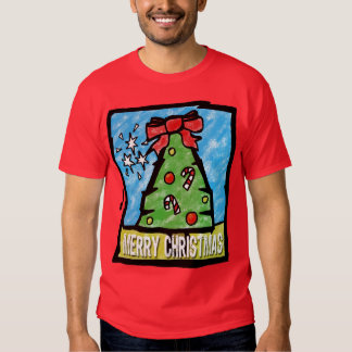 Merry Christmas Tree Cartoon Style T-shirts