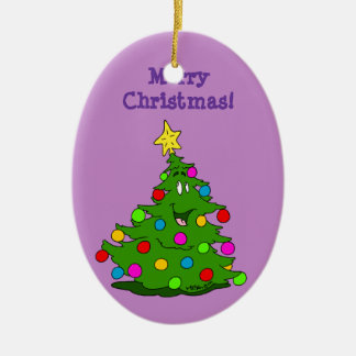 Merry Christmas Tree Ceramic Oval Decoration
