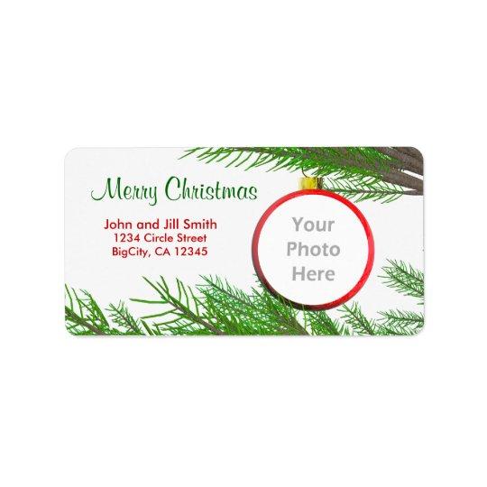 Merry Christmas Tree Decoration Photo Frame Address Label