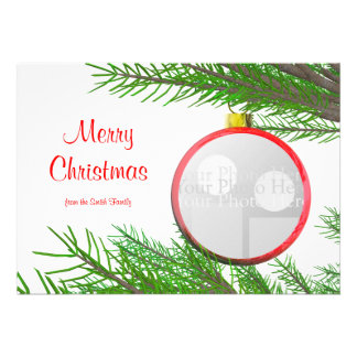 Merry Christmas Tree Decoration photo frame Custom Announcement