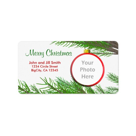 Merry Christmas Tree Decoration Photo Frame Label