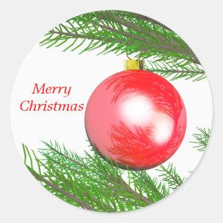 Merry Christmas Tree Decoration Round Sticker