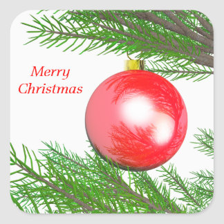 Merry Christmas Tree Decoration Square Sticker