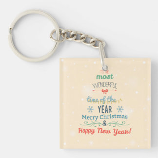 Merry Christmas Tree Double-Sided Square Acrylic Key Ring