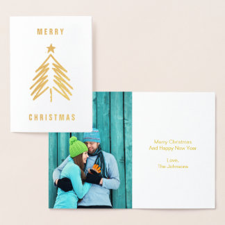 Merry Christmas Tree Foil Greeting Card