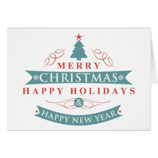 Merry Christmas Tree Folded Holiday Greeting Card