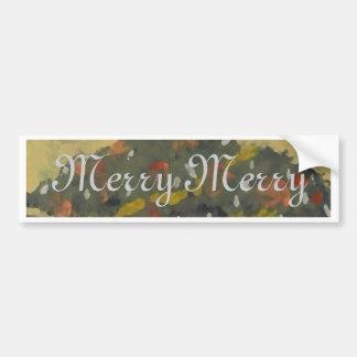 Merry Christmas Tree FolkArt Designer Holiday Bumper Sticker