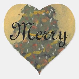Merry Christmas Tree FolkArt Designer Holiday Heart Sticker
