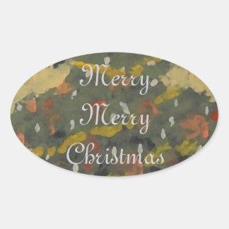 Merry Christmas Tree FolkArt Designer Holiday Oval Sticker