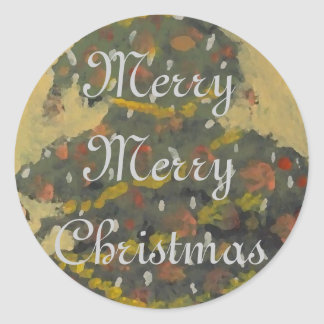 Merry Christmas Tree FolkArt Designer Holiday Round Sticker