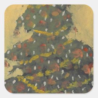 Merry Christmas Tree FolkArt Designer Holiday Square Sticker