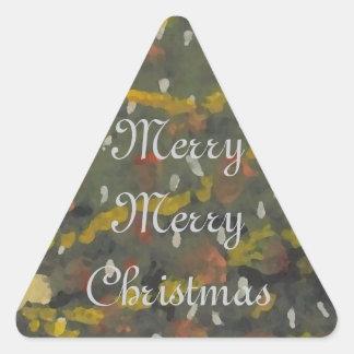 Merry Christmas Tree FolkArt Designer Holiday Triangle Sticker