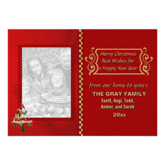 Merry Christmas Tree Glitter Checkerboard 2 Photo Personalized Announcements