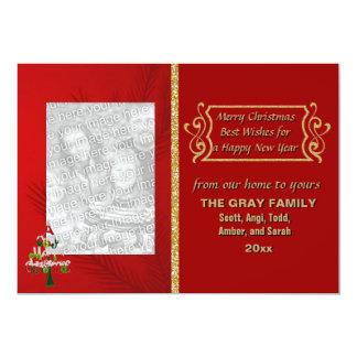 Merry Christmas Tree Glitter Double Sided 2 Photo 13 Cm X 18 Cm Invitation Card