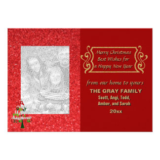 Merry Christmas Tree Glitter Holiday Photo Card