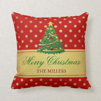 Merry Christmas Tree - Gold Glitter Polka Dots Cushion