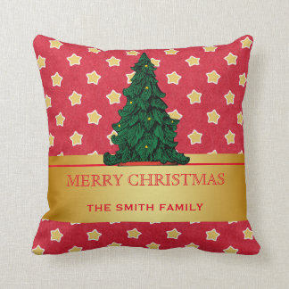 Merry Christmas Tree Gold Glitter Star Cushion