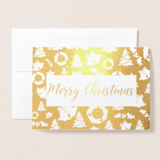 merry christmas Tree Golden Foil Card