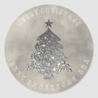 Merry Christmas Tree Gray Ivory Gold Linen Grungy Classic Round Sticker