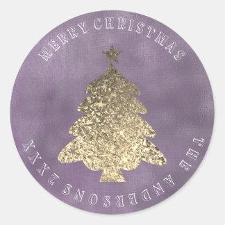 Merry Christmas Tree Gray Purple Gold Linen Grungy Classic Round Sticker