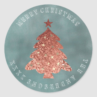 Merry Christmas Tree Gray Rose Gold Linen Grungy Classic Round Sticker