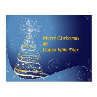 merry christmas tree happy new year postcard