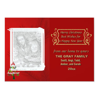 Merry Christmas Tree Holiday 2 Photo Double Sided 5x7 Paper Invitation Card
