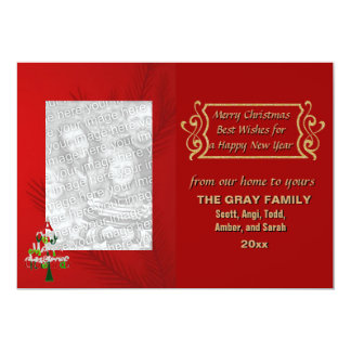 Merry Christmas Tree Holiday 2 Photo Double Sided Card