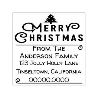 Merry Christmas Tree Holiday Card Envelope Stamp