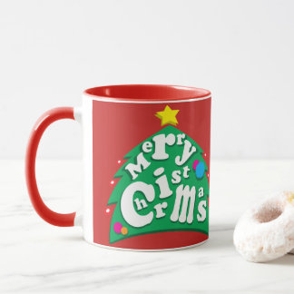 Merry Christmas Tree Letters Mug