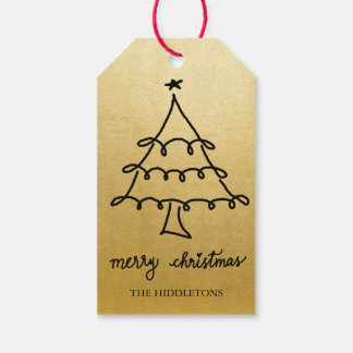 Merry Christmas Tree Modern Script Faux Gold Foil Gift Tags