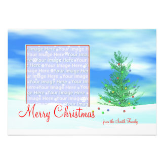 Merry Christmas Tree Morning photo frame Personalized Invitation