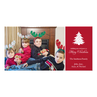 Merry Christmas Tree Photo Cards (Burgandy Red)
