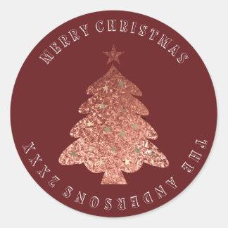 Merry Christmas Tree Pink Rose Gold Burgund Maroon Classic Round Sticker