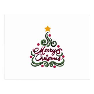MERRY CHRISTMAS TREE POSTCARD